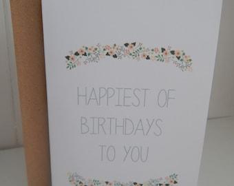 Floral Birthday Card - Pretty Birthday Card