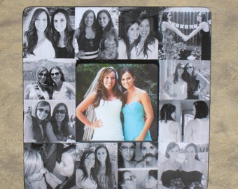 "Bridesmaid Collage Picture Frame, Personalized Sister Gift, Custom Maid of Honor Frame, Best Friend Photo Collage Frame, 8"" x 8"" Frame"