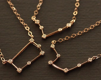 Rose Gold Zodiac Necklace - Cubic Zirconia Constellation Astrological Necklace - Rose Gold Filled Chain
