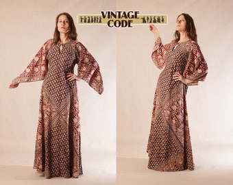 Indian Cotton Gauze Angel sleeve cotton kaftan caftan dress  / Vintage Adini style Hippie Boho Ethnic Festival Dress  / size small to Medium