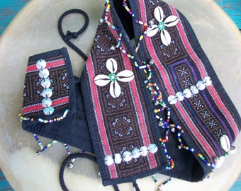 """BEADED EMBROIDERED BELT - Guatemalan Unique Hand Made 35""""x3.5"""""""