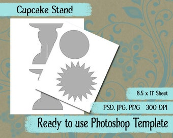 Party Favor Box Digital Collage Photoshop Template Cupcake Stand