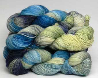 Calypso on HipHop Monkey fingering weight hand painted sock yarn turquoise blue green navy variagated