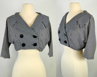 1950s/1960s Black and White Checkered/Gingham Double Breasted Crop Jacket