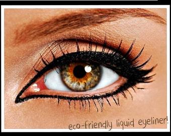 Non Toxic Liquid Eyeliner with Felt Tip Brush Applicator |  Organic and Natural Eyeliner|  Very Black