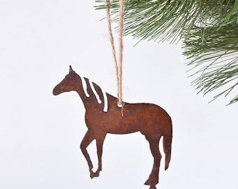 Horse Metal Ornament / by WATTO Distinctive Metal Wear/ Prancing Horse/ Horse Lover / Gift for Horse Lover/ Christmas Ornament/ Equestrian
