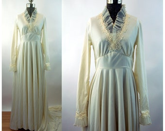1960s wedding gown dress Edythe Vincent for Alfred Angelo long train pleated sheer ruffle empire waist Size S