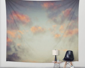Sunset Sky Wall Tapestry, Cloud Large Size Wall Art, Modern Decor, Nature, Wedding Gift, Outdoor, Garden, Orange Gray, Office, Dorm Art
