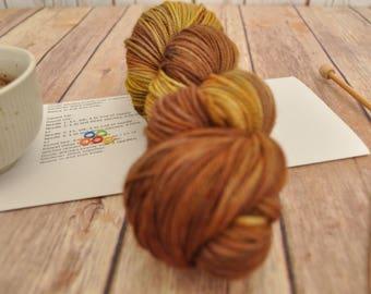 "Hand-dyed yarn, ""Honey Fusion"" Variegated, soft and squishy yarn. Great for socks or shawls. 80/20 Superwash wool/Nylon"