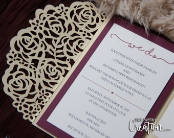 Rose Laser Cut Pocketfold Wedding Invitations, Pocketfold Invitations, Rose Laser Cut Invitation, Tri-fold Lasercut