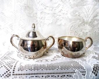 Vintage ONEIDA SILVERSMITHS Sugar and Creamer Set- Rose Bud Knob- Classic Subtle Silver- Shabby Decor- Silver with Aged Patina- Vintage Set