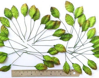 50 pc Mulbery Paper Rose Leaves  Green Color Size 30mm x15 mm with 2  inch Long stemScrapbooking Embellishment