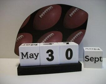 Football Calendar Perpetual Block Calendar Wood Football Theme Decor