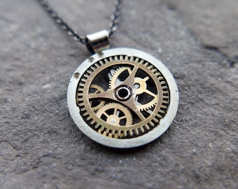"""Watch Gear Necklace """"Dalim"""" Pendant Recycled Mechanical Watch Parts Intricate Sculpture Wearable Art Steampunk Assembly Gershenson"""