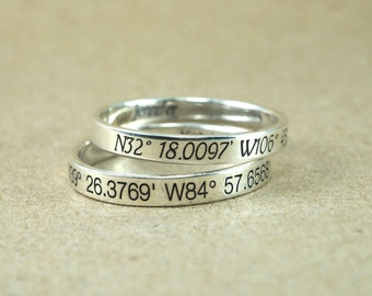 Coordinates Ring, Latitude Longitude Ring, Location Ring, Personalized Latitude Longitude Jewelry,  latitude Ring, 3 mm. 925 Sterling Silver