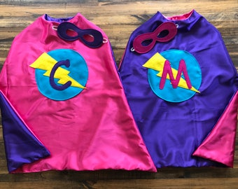 Superhero Cape-Personalized with Mask, Reversible Lightening Bolt Kid's Cape, Birthday gift or Choose any Custom Super Hero Party Cape
