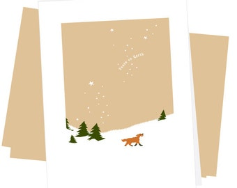 Greeting Card Collection red fox in snow 4 Note cards Peace on Earth with kraft envelopes