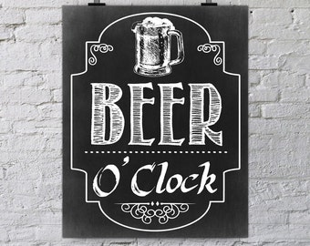 Beer O'clock, wall art printable quote, black & white chalkboard digital print, man cave, home bar, shed, office gift, husband, dad