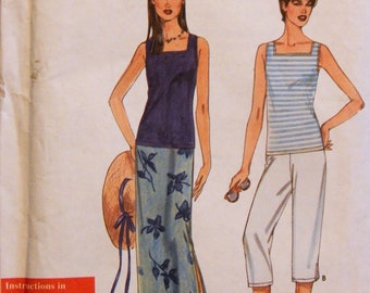 Easy to sew summer wardrobe pattern Simplicity 9179 Skirt, capri pants and knit tank top pattern Uncut Sizes XS, S, M, L and XL