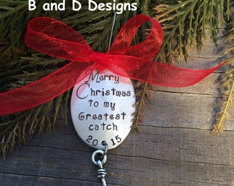 Personalized Fishing lure Christmas ornament