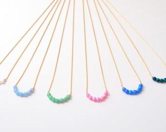 Opal gold necklace, Opal jewelry, Opal necklace, Blue opal bead necklace, gold filled tiny necklace, opal bead necklace, October birthstone