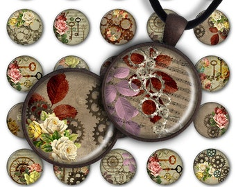 75% OFF SALE Digital Collage Sheet PC045 1 inch round 1 inch circle 25 mm Pendant Printable Download Jewelry Making - Steampunk Flowers