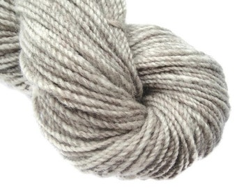 Hand spun natural two ply worsted yarn, 135 yards, handspun yarn