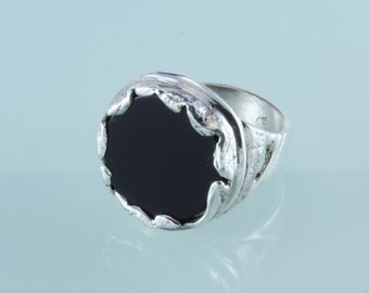 Onyx Sterling Silver Ring - Art Silver Ring