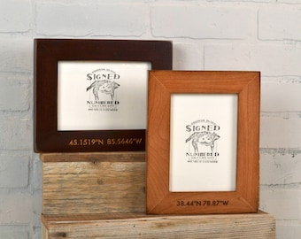 5x7 Coordinates Frame Custom Engraved in Finish COLOR of YOUR CHOICE - Picture Frame Romantic Custom Engraving 5 x 7 Location Frame