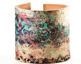 Casual Leather Cuff Bracelet - Turquoise Hand Painted Jewelry - Unique Gift Idea, Women's Fashion