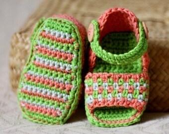 Crochet PATTERN - Multi-coloured Sandals