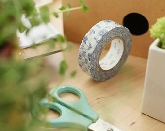 MT Washi Tape Flower Dark Blue R   15mm width Japanese Masking Tape MT Tape (MTEX1P55)