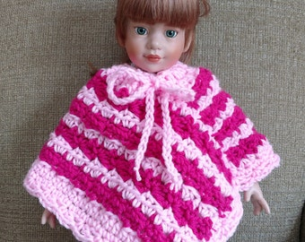 """18"""" Doll Clothes, Crocheted Poncho, Fits American Girl Dolls, Crocheted Handmade Doll Clothes, Country Goods"""