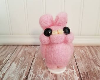 Adorable Needle Felted Wool Toothy Monster- Light Pink