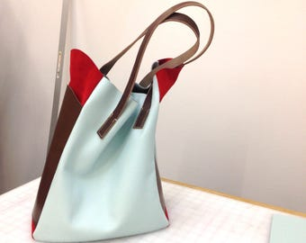 SAMPLE - Slouchy leather laptop tote - Mint, Chocolate, Red - shoulder bag