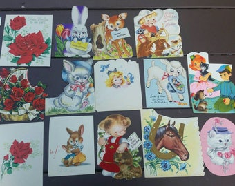 1950's Card Fronts 14 Vintage Pieces