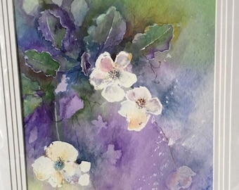 Original Watercolour painting of a white blossom