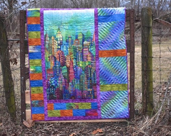 """Skylines City Buildings Wall or Lap Quilt Kit - 42"""" x 57.5"""" Quilt Kit - Digitally Printed Hoffman"""