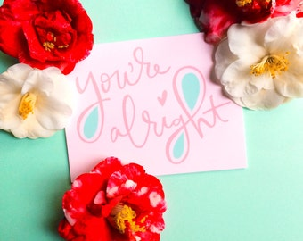 valentine card funny valentines day card you're alright blush pink mint greeting card romantic anniversary card sarcastic valentines cards