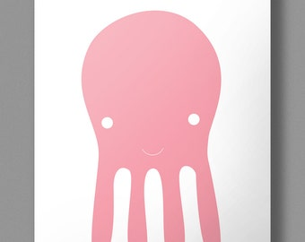 Otto Octopus Digital Poster - Digital 4 pages pdf - 4 colors - yellow, black, cyan, pink - Perfect in kids bedroom