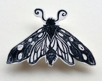 Moth Brooch, moth badge made from linocut print, butterfly pin badge