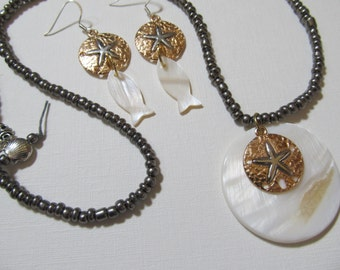 Necklace Sand Dollar, Abalone Shell Pendant & Fish Earrings, Beaded Beach Coastal Jewelry