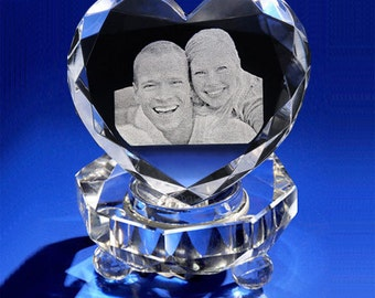 3d Crystal Photo Heart Gift Set for Valentine's Day, Anniversary, by Goodcount A039, Laser Etching Picture in Glass**Free Shipping