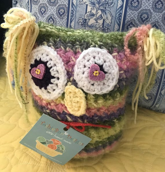 Kooky Owl in purple, green, pink and yellow