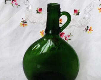 Old World Large Green Glass Bottle Wine Bottle, Green Glass for Crafting, Re-cycling, Crafts
