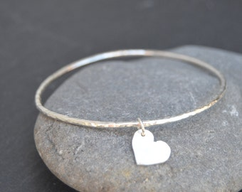 Sterling Silver Bangle with Heart Charm, Silver Bangle, Bangle Bracelet, Silver Bracelet, Bangle, Sterling Silver, Solid Silver Bangle
