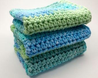 Blue and Green washcloths / Crochet washcloths / Cotton wash cloths / Set of 3 / Bath cloths / Kitchen wash cloths / ready to ship