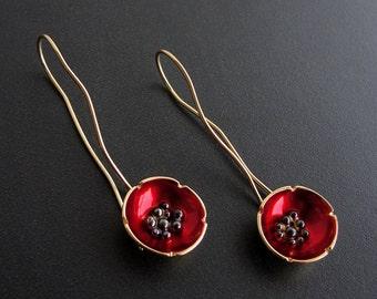 Flower earrings, poppy earrings, enamel jewelry, red earrings, enamel earrings, hypoallergenic earrings, long earrings