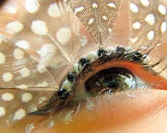Spotted Feather Eyelash Jewelry - feather false eyelashes, grey and white