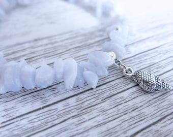 Blue Lace Agate Bracelet Blue Lace Agate Gemstone Bracelet Blue Lace Agate Crystal Chip Choose Your Own Charm Bracelet